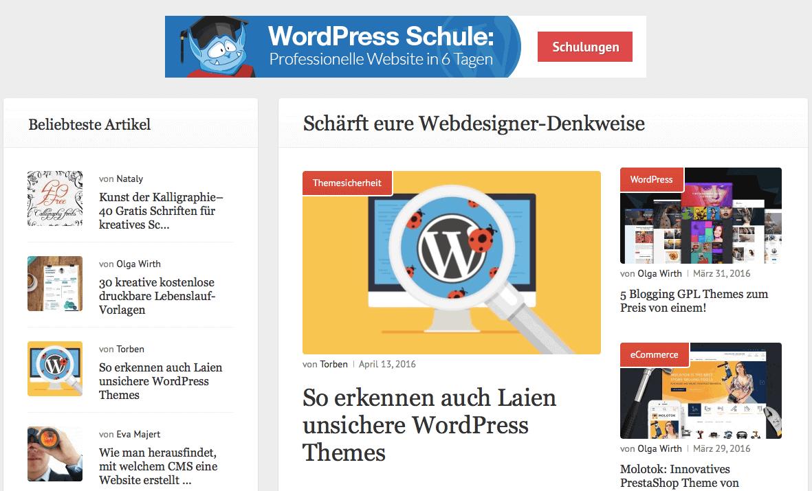 """TemplateMonster drängt in Richtung WordPress: im Banner oben Werbung für die """"WordPress Schule"""" des Unternehmens."""