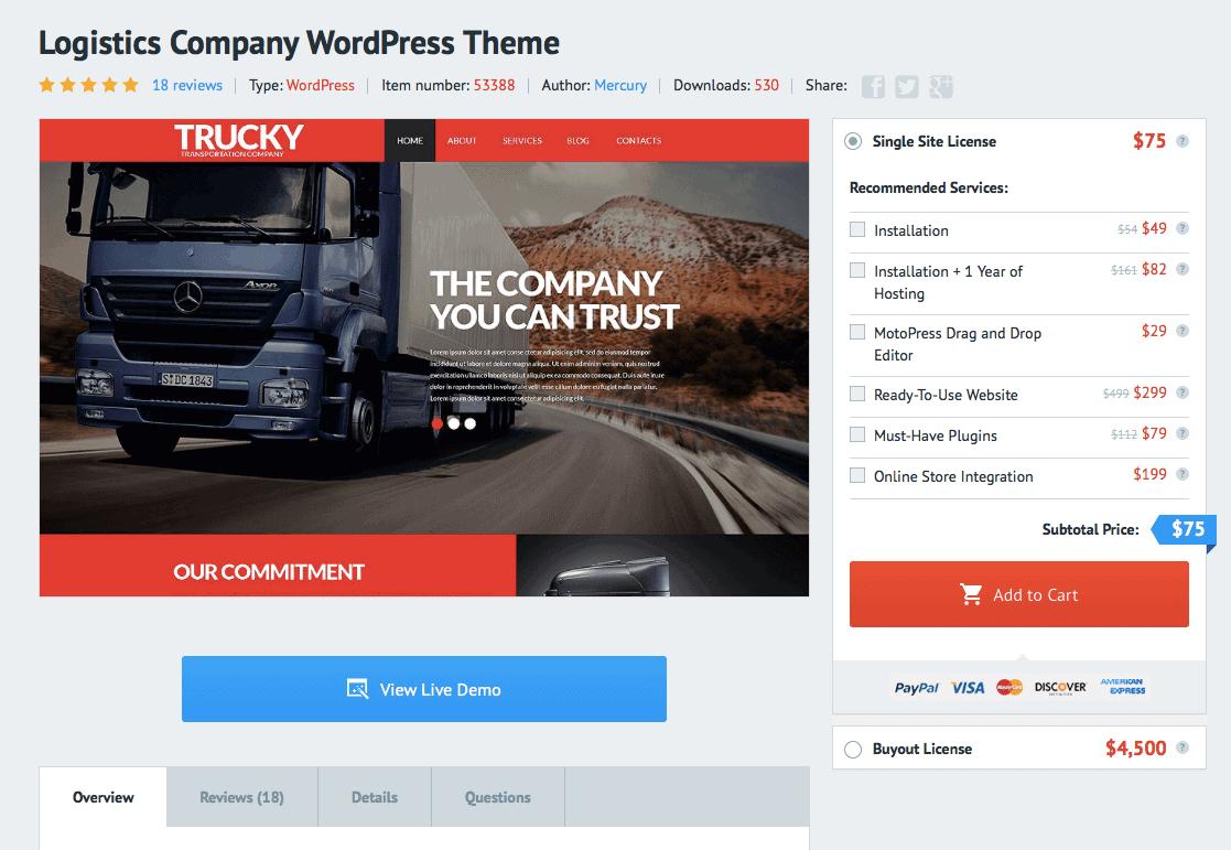 Die Shopansicht von TemplateMonster bietet ähnliche Funktionen wie das offizielle WordPress Repository.