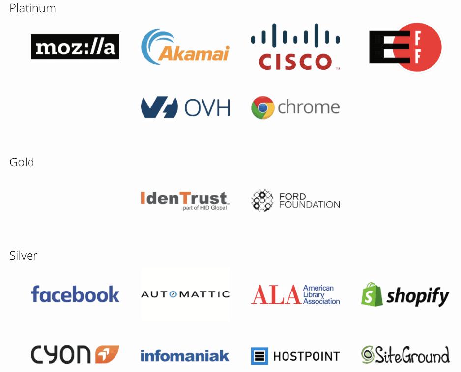 Auswahl der Platin-, Gold- und Silbersponsoren von Let's Encrypt.