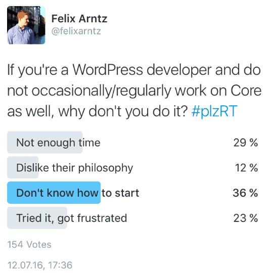 Tweet von Felix Arntz aus seinem Vortrag vom WordCamp Frankfurt 2016