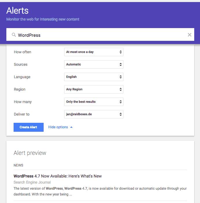 Weiterer Ausschnitt aus Google Alerts, der zeigt welche Optionen für das Social Listening mit dem Tools ausgewählt werden können.