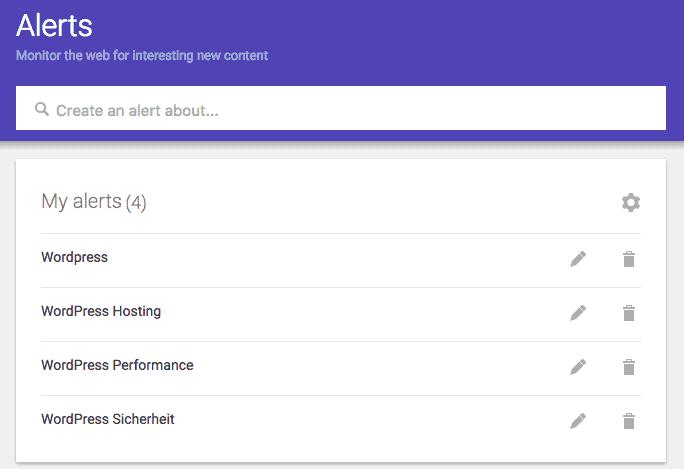 Ausschnitt aus Google Alerts. Mit dem Tool lässt sich ein rudimentäre Social Listening-Lösung realisieren.