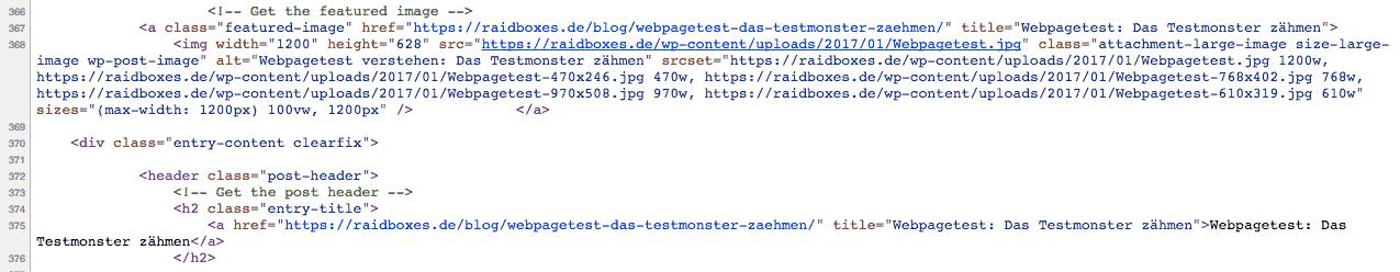 Auszug aus dem Quelltext eines RAIDBOXES Blogbeitrags