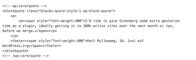 so sieht html im neuen editor aus