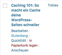 Auch alte Beiträge können mit Gutenberg geöffnet werden.