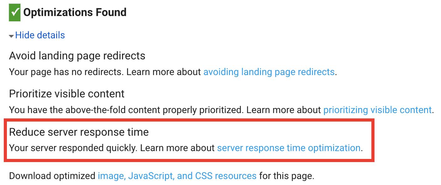 RAIDBOXES WordPress message d'erreur du cadre de performance de Google PageSpeed Insights concernant la TTFB