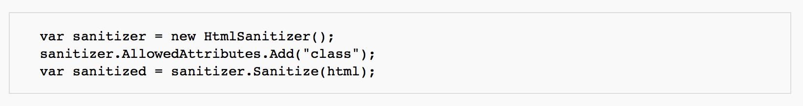 So kann der Konfigurationscode aussehen, den man braucht, um eine Code-Sanitization durchzuführen.