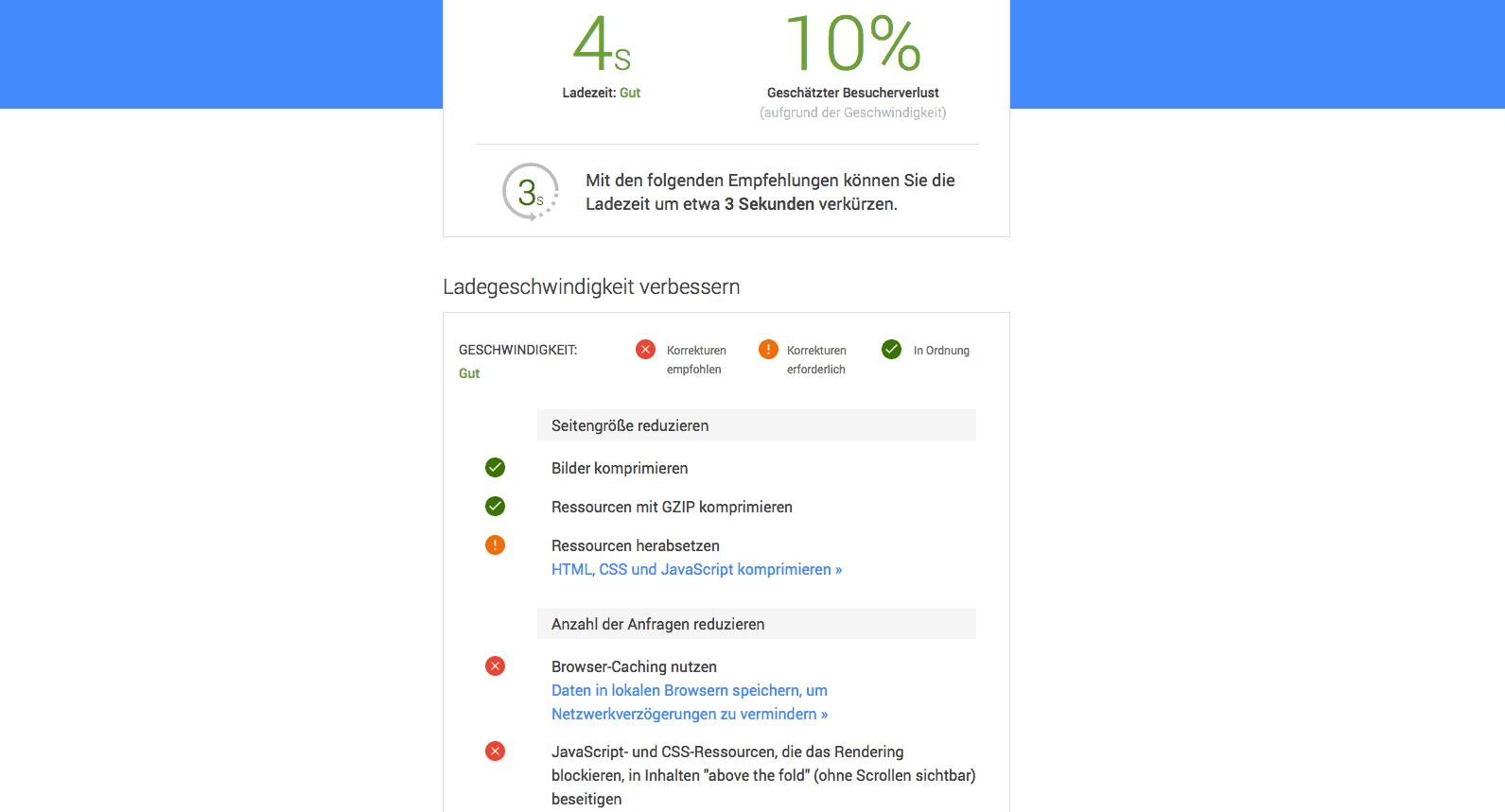 Dieser Screenshot zeigt, wie du dir die ausführlichen Testergebnisse von Test My Site einfach per Mail zuschicken lassen kannst.