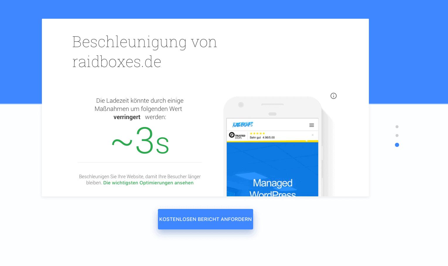 Dieses Bild zeigt, wieviel Beschleunigung bei der jeweiligen Seite laut Test My Site noch drin ist.