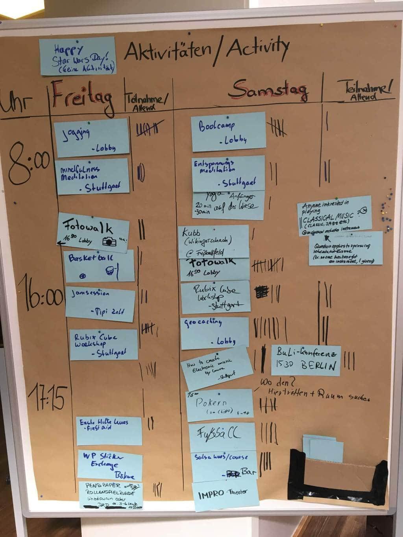 Board mit Aktivitäten