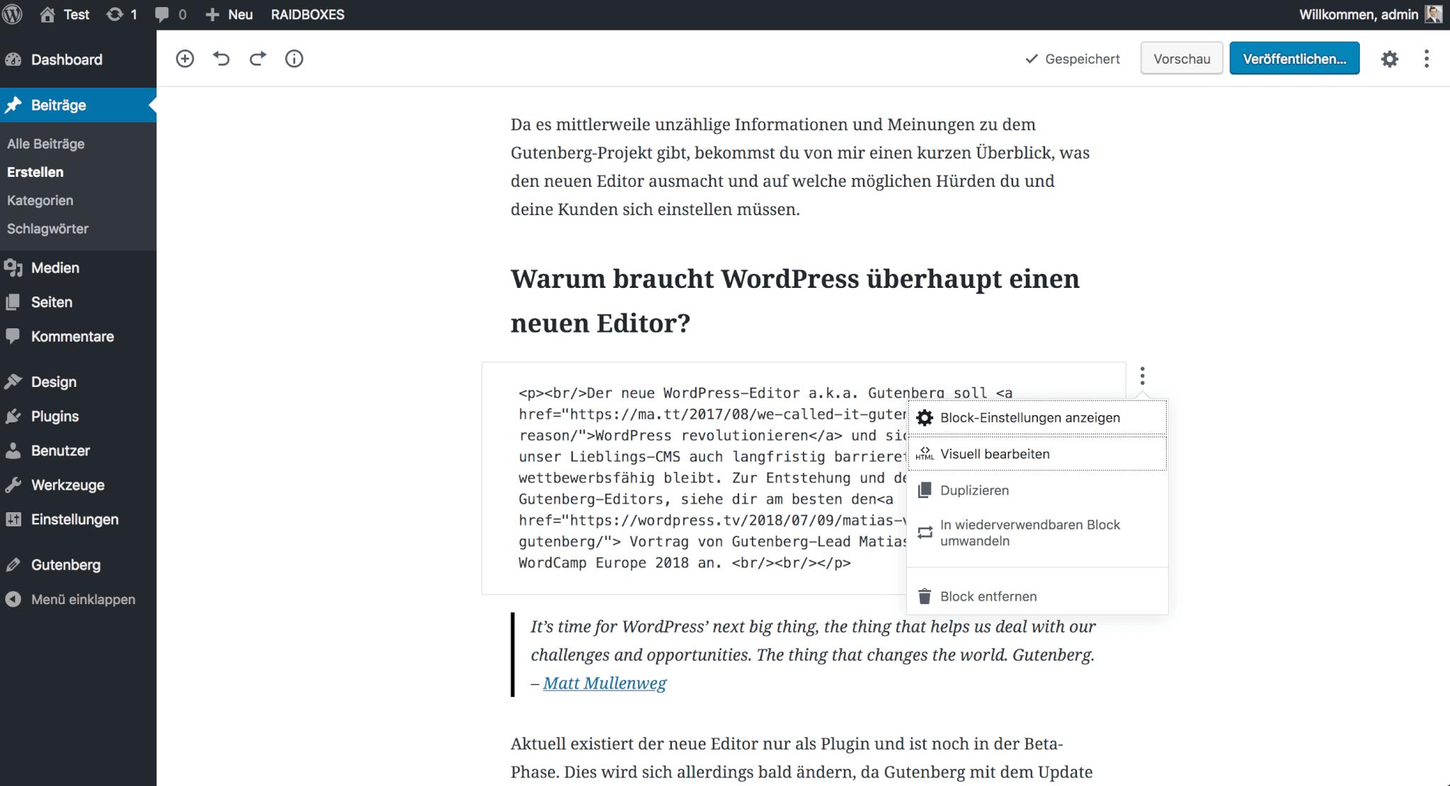 WordPress-Editor Gutenberg: HTML-Ansicht