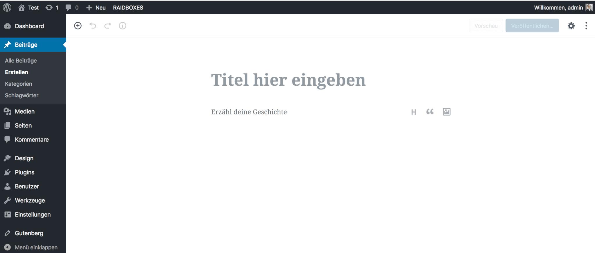 WordPress-Editor Gutenberg