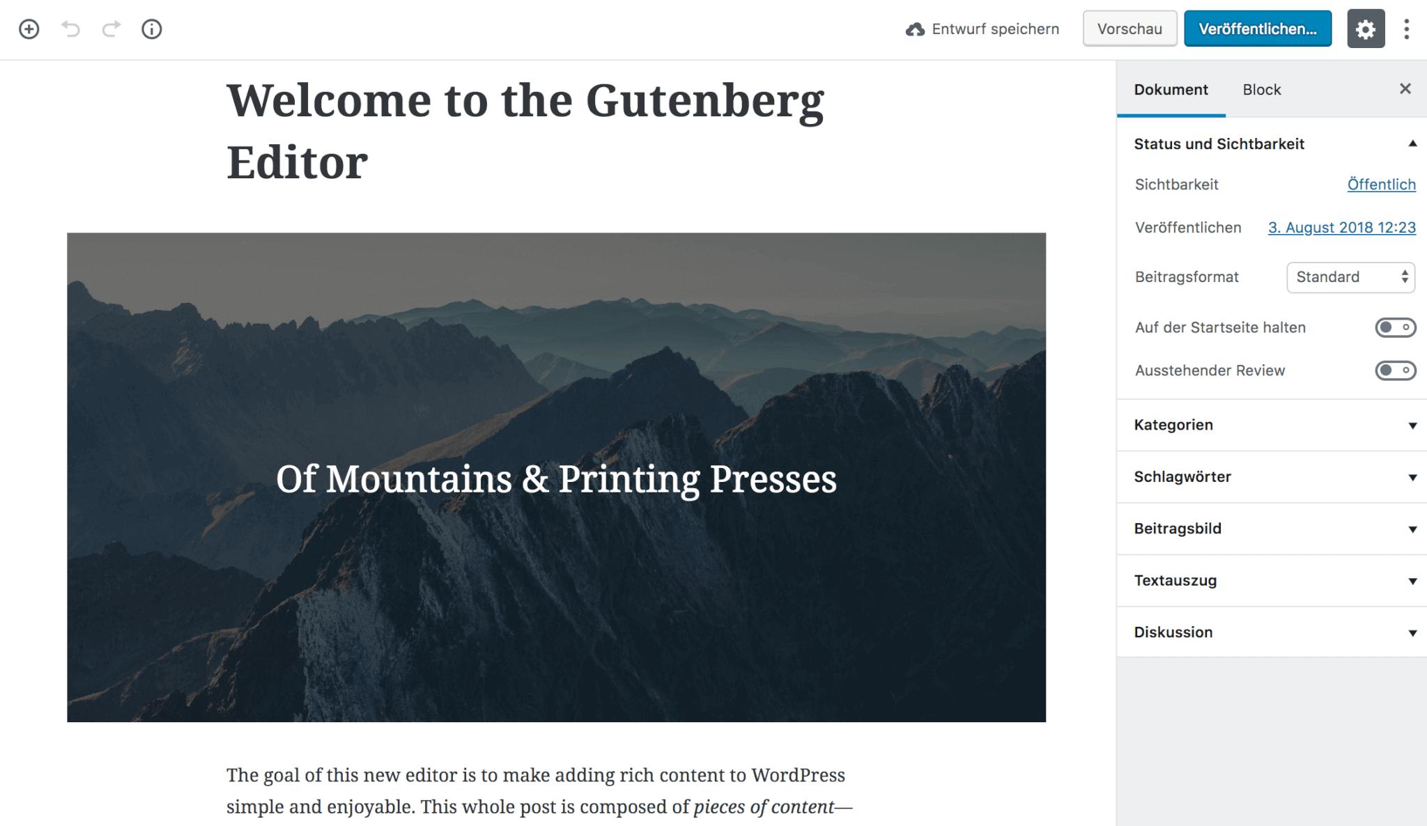 So sieht der Begrüßungspost von Gutenberg unter WordPress 4.9.8 aus