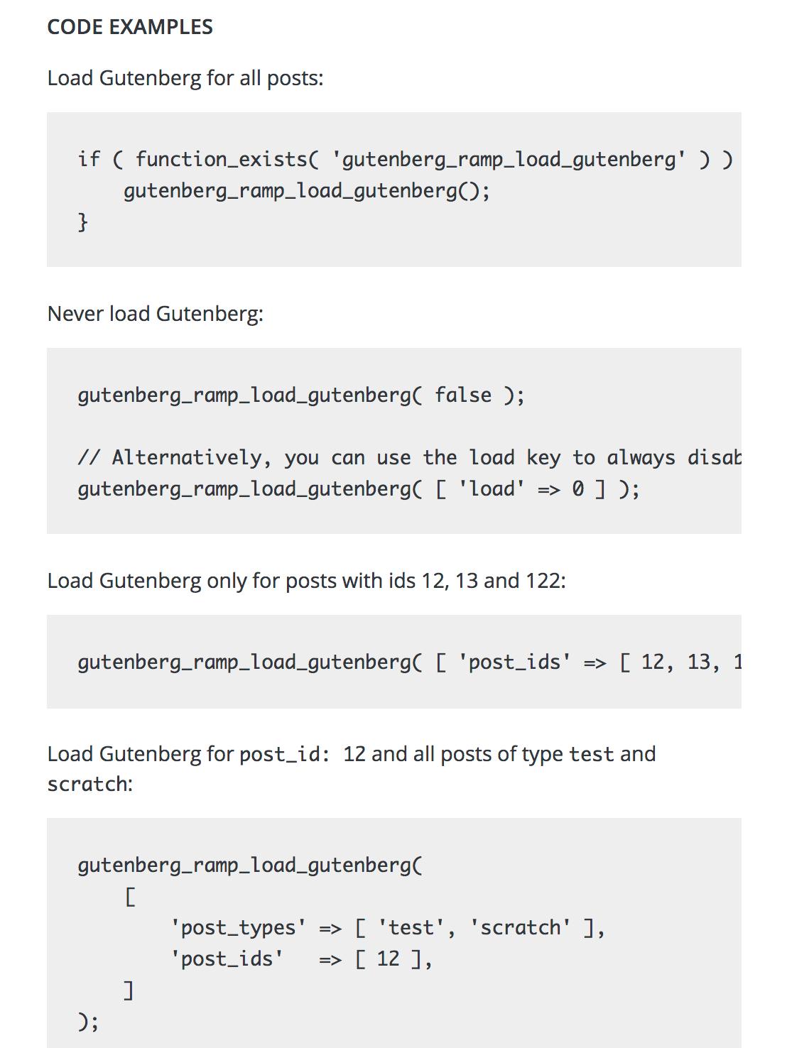 Code für Gutenberg Ramp Plugin