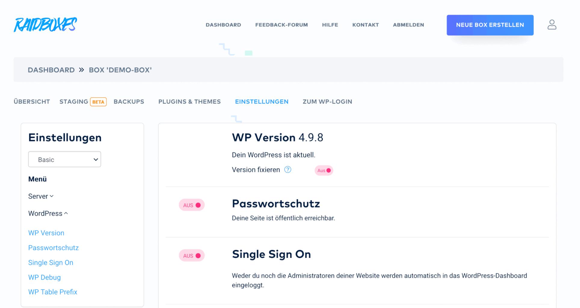 WordPress-Version fixieren bei RAIDBOXES