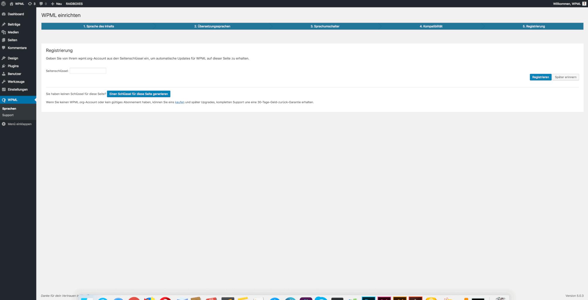 wpml einrichten wpml plugin registrieren
