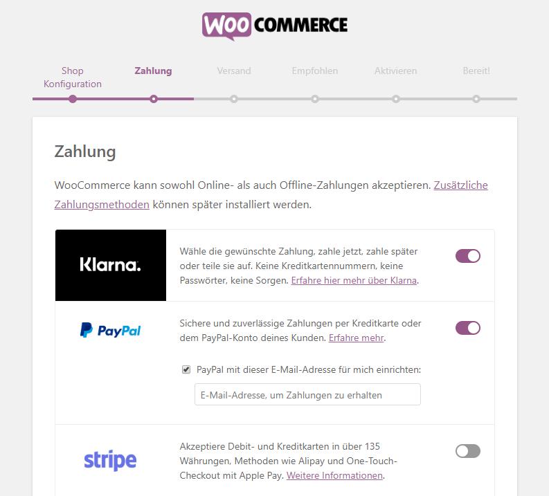 Ein Assistent führt dich durch die Installation von WooCommerce