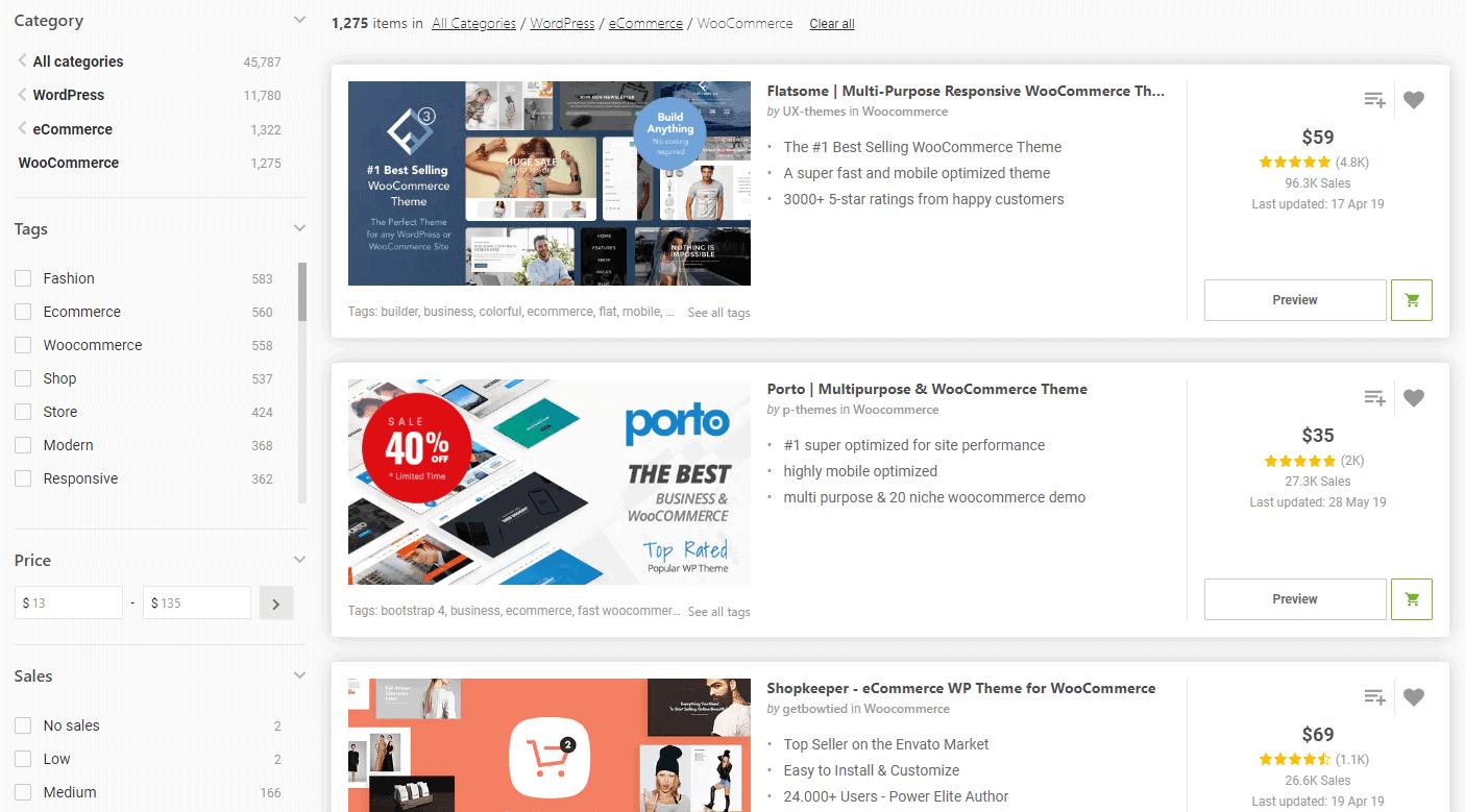 WooCommerce Themes na stronie ThemeForest