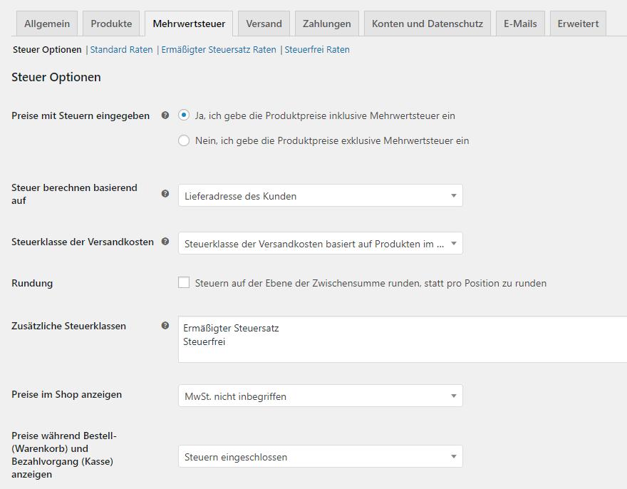 Opções de controle de WooCommerce
