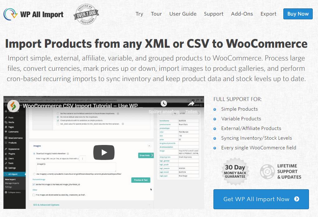 İthalat ve dışa aktarma ürün verileri WooCommerce