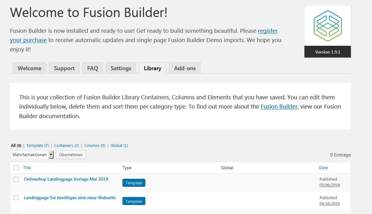 Avada Fusion Builder Library