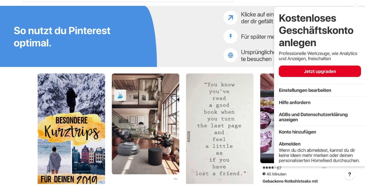 Zakelijke rekening met Pinterest
