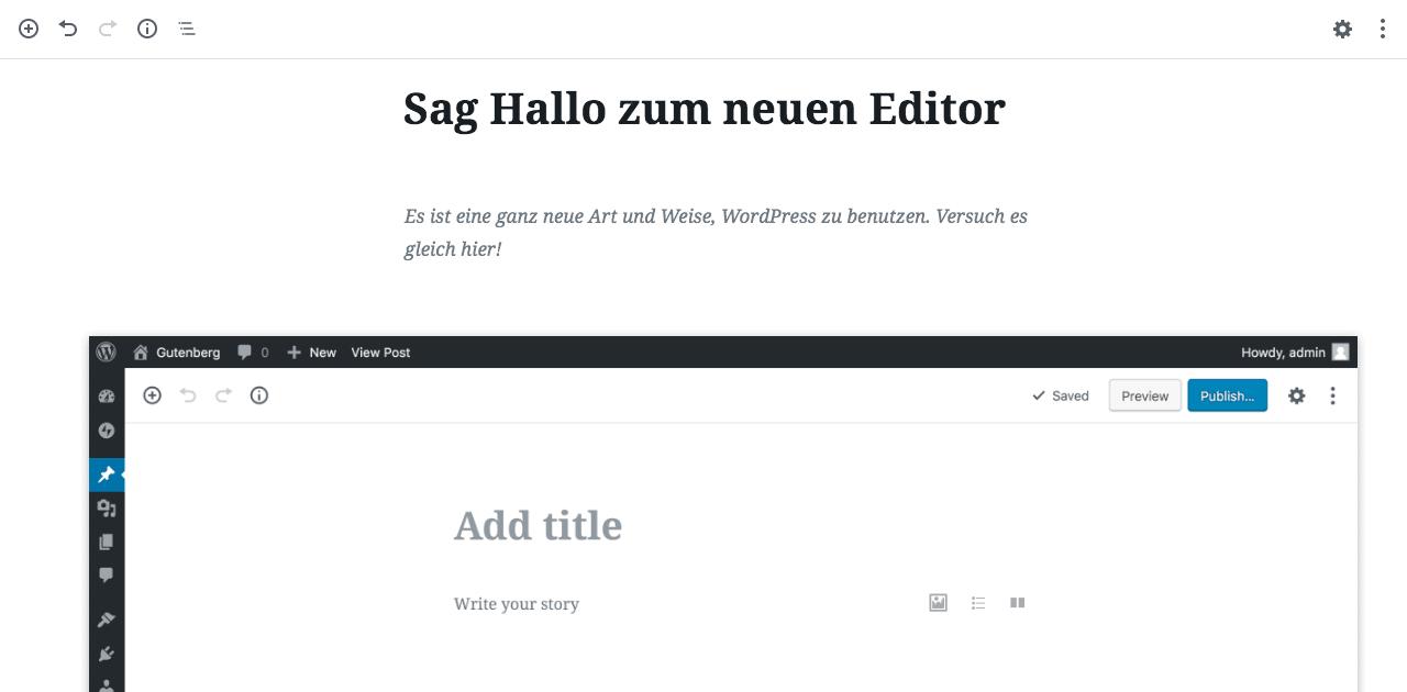 der neue Gutenberg-Editor