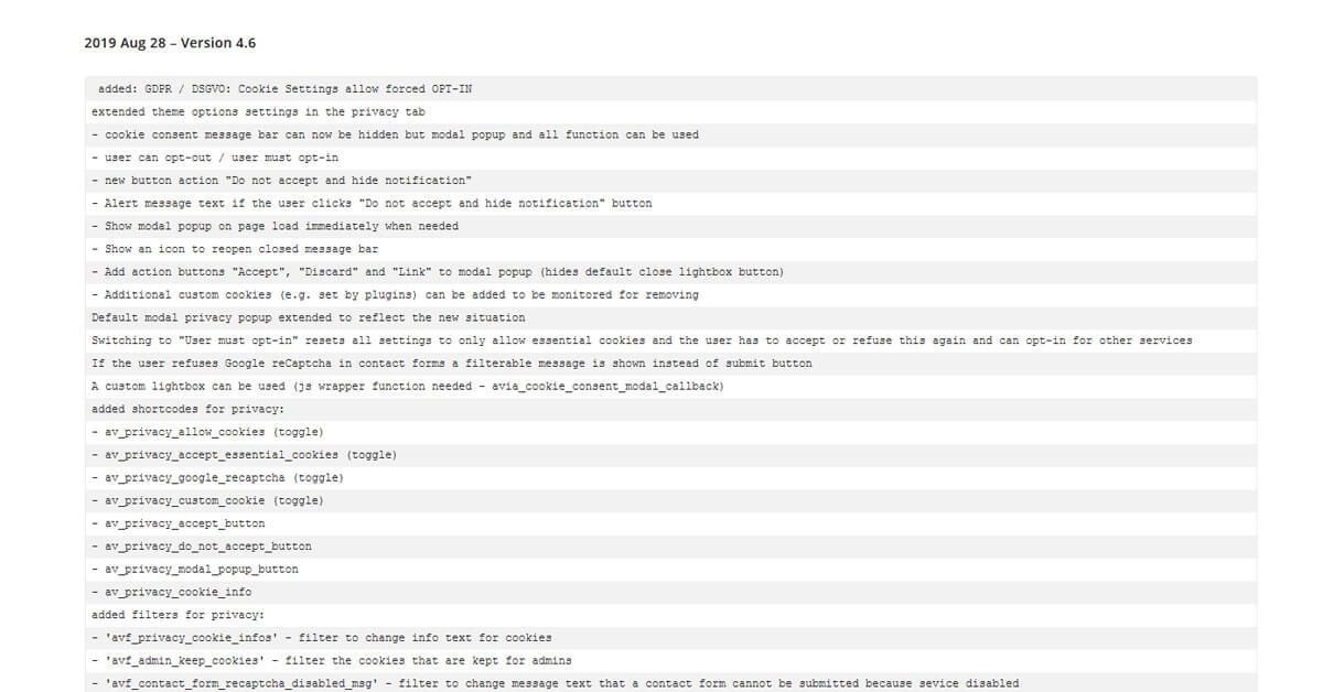 changelog wordpress theme