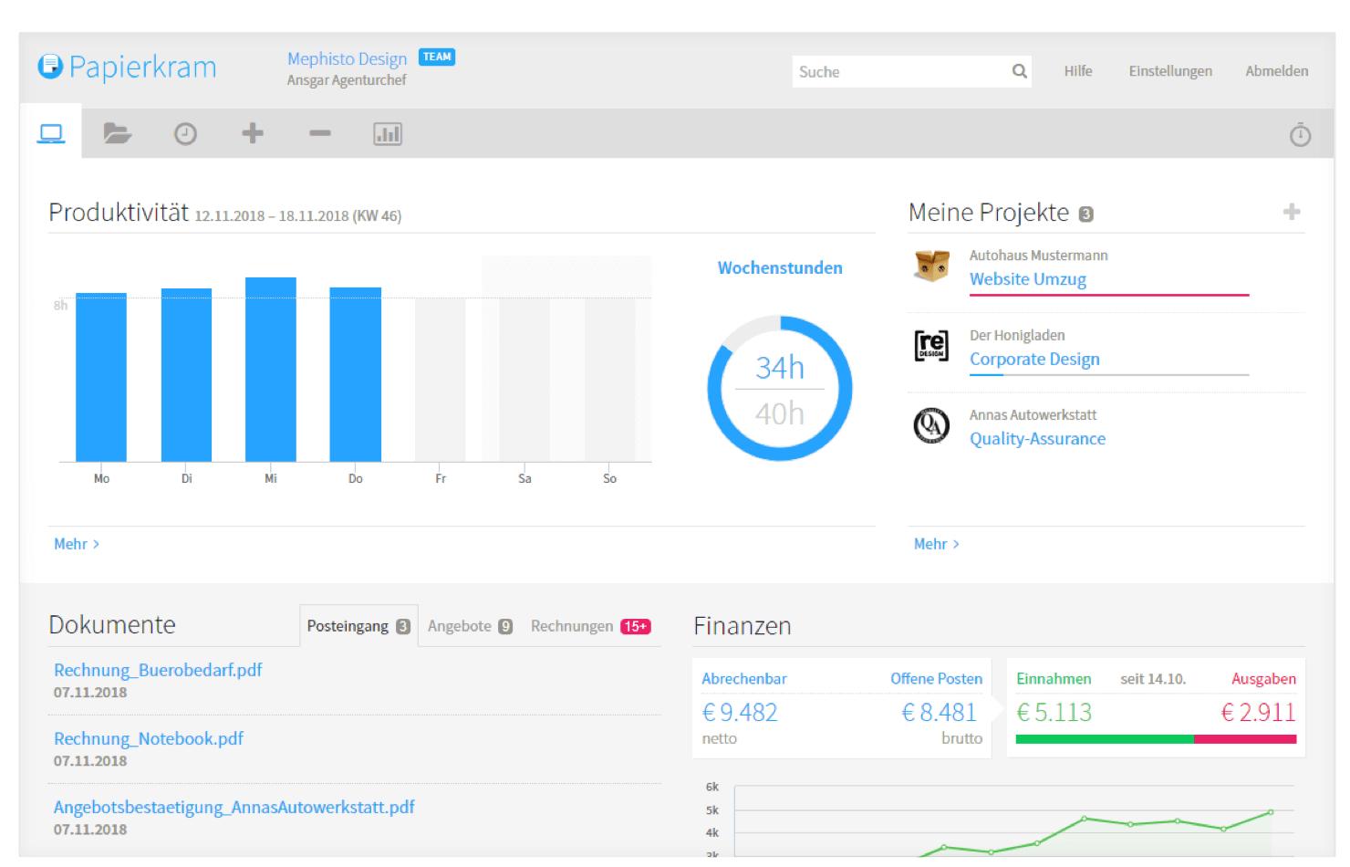 papierkram kostenlose Online-Buchhaltungssoftware